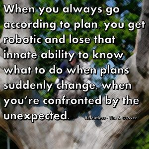 When you always go according to plan, you get robotic and lose that innate ability to know what to do when plans suddenly change, when you're confronted by the unexpected. Relentless - Tim S. Grover